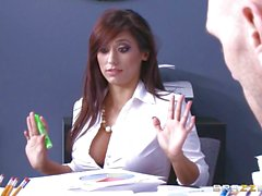 Raunchy babe Reena Sky fucks her colleague at work