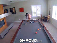 POVD French babe with big tits fucked on pool table