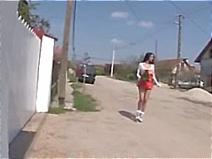 Busty brunette slut walks the streets and finds several dicks to do