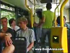 Busty brunette is on the bus and sucks his cock before fucking