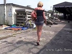 Big tit blonde Lady Sonia flashing in public