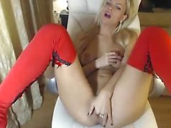 Warm titty blonde on cam fingering her vagina