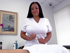 Big titted Kiara Mia doing handjob
