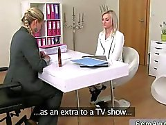 Female agent toys a blonde babe on casting