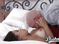 Naturally busty stepdaughter slammed by big dicked daddy