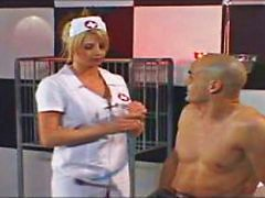 Hot big boob blonde nurse cums to action