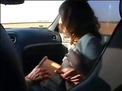 French amateur fucked into the car