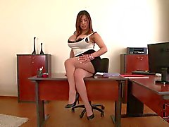Exotic office bombshell Tigerr Benson with gigantic hooters