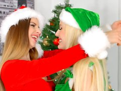 Stella Cox and Angel Wicky in Merry Breastmas lesbian s