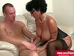 Spectacled slut gives perfect handjob