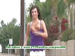 Mandee amazing brunette babe public tits and pussy flashing