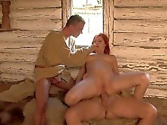 Redhead with natural tits Rosses Silver loves threesomes