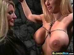 Busty Blonde Slave Getting Punished