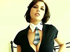 Louisa may looks hot in her blue school girl dress