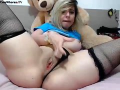 Anne hot busty blonde babe masturbating and anal toying