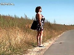 Hairy puss hitch hiking milf ingrid playing huge toy outdoors