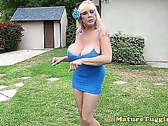 Massive tit milf outdoors jerking on cock