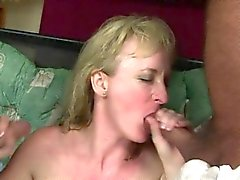 Busty housewife double blowjob