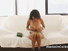Hot big tit ebony amateur blows
