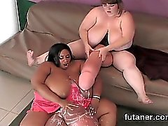 Foxy nymphos screw the biggest strap-on dildos and spray lov