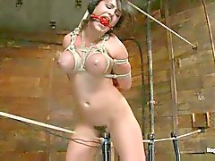 Girl is tied up in many ways