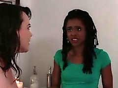 Ebony teen masseuse lez