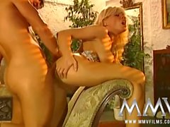 Vintage BJ and banging with a perfect blonde porn slut