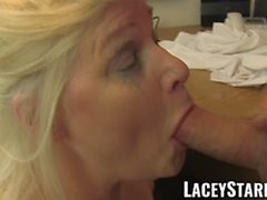 Mature Lacey Starr eats Pascal White cum after sex