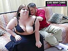 Perverted brunette fatty strips and enjoys big cock down throat