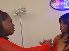 Busty big tits ebony plays around the office with lesbian friend