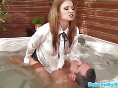 Busty Abbie Cat rides slippery cock in jacuzzi