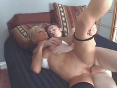 Busty Divorced Cougar MILF Seduces Young Boy with Big Cock
