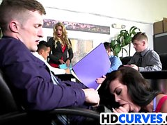 Office fling with curvy Ryan Smiles