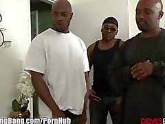 Horny Redhead and 3 big black Cocks