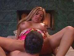 Latina cutie fucked in front of the fire place