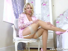 Busty blonde strips for you to wank spunk on nude pantyhose