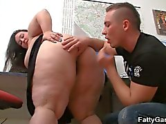 Brunette office fatty gets banged hard
