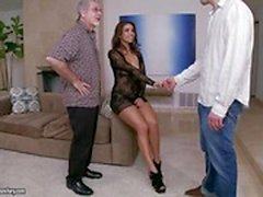 Smoking hot Latina wife Isabella Taylor is allowed to fuck other men but her husband has to watch