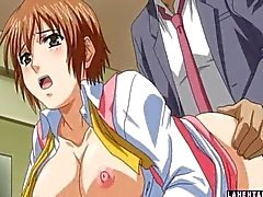 Big titted hentai babe rides guys hard cock