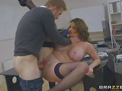 Massive titted secretary Tasha Holz spooned in the office