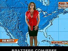 Big breasted weather girl fucks her producer