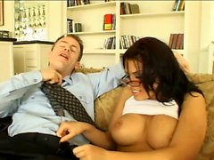 Sexy brunette Eva Angelina cums with a hard cock in her shaved pussy