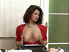 Horny chick gangbanged in the office