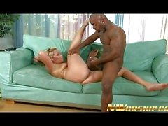 Hot blonde milf interracial sex and black cum