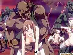 Anime cutie brutally monsters fucked and creampie