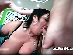 Horny mature whore goes crazy sucking