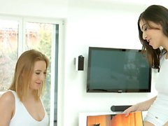 Kiki Cyrus and Anya Krey in lesbian scene Exotic birthday