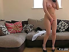 Busty amateur gets tits and pussy fucked on casting