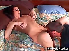 Big boobed brunette MILF gets her wet cunt bonked