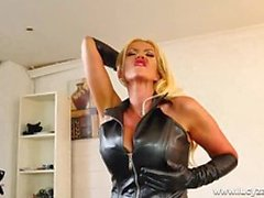 Sexy Leather Bitch blonde slut Lucy Zara finger fucking
